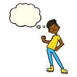Karikatur, die Mann mit Gedankenblase feiert Stockbilder