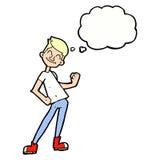 Karikatur, die Mann mit Gedankenblase feiert Stockfoto