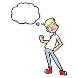 Karikatur, die Mann mit Gedankenblase feiert Stockfotos