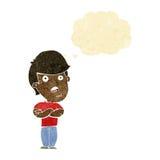 Karikatur dissapointed Mann mit Gedankenblase Stockfoto