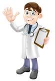Karikatur-Doktor Holding Clipboard Lizenzfreie Stockbilder
