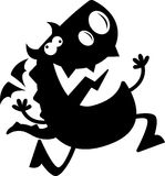 Karikatur Dragon Silhouette Crazy Stockfotografie