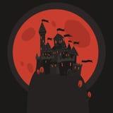 Karikatur-dunkles Halloween-Schloss auf einer flachen Ikone des Hügels Stockfotos