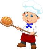 Karikatur ein Bäcker mit Brot Stockbilder