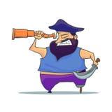 Karikatur-einbeiniger Pirat mit Fernglas Vektor Stockbilder