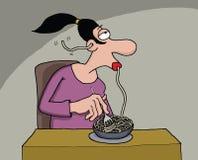 Karikatur einer Frau, die Spaghettis isst Lizenzfreies Stockfoto