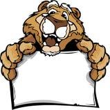 Karikatur eines glücklichen netten Puma-Maskottchen-Holding-Zeichens Stockbild