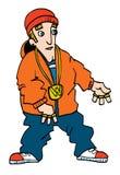 Karikatur eines jugendlichen weißen Rappers Stockfotos