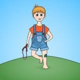 Karikatur eines Jungen mit Katapult in der Hand und verletztem Knie Stockbild