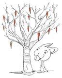 Karikatur eines Kaninchens und ein Baum mit Karotten Stockfotografie