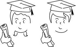Karikatur eines netten Jungen und des Mädchens graduierte Lizenzfreie Stockfotografie