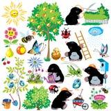 Karikatur eingestellt mit Mole im Garten Stockbilder