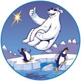 Karikatur-Eisbär, der Kanonenkugel-Kopfsprung während Pinguin-Uhr tut lizenzfreie abbildung
