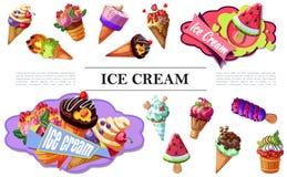 Karikatur-Eiscreme-Zusammensetzung lizenzfreie stockbilder