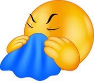 Karikatur Emoticon-smileyhusten stock abbildung