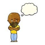 Karikatur entsetzte kahlen Mann mit Bart mit Gedankenblase Lizenzfreies Stockfoto