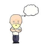 Karikatur entsetzte kahlen Mann mit Bart mit Gedankenblase Lizenzfreie Stockbilder