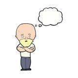 Karikatur entsetzte kahlen Mann mit Bart mit Gedankenblase Stockfotos