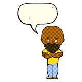 Karikatur entsetzte kahlen Mann mit Bart mit Spracheblase Stockbild