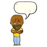 Karikatur entsetzte kahlen Mann mit Bart mit Spracheblase Stockbilder