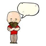 Karikatur entsetzte kahlen Mann mit Bart mit Spracheblase Lizenzfreies Stockbild
