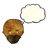 Karikatur entsetzte Mann mit Bart mit Gedankenblase Lizenzfreie Stockfotos