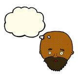 Karikatur entsetzte Mann mit Bart mit Gedankenblase Lizenzfreie Stockfotografie