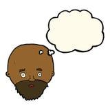Karikatur entsetzte Mann mit Bart mit Gedankenblase Lizenzfreies Stockbild