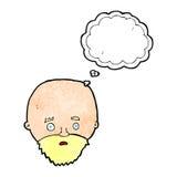Karikatur entsetzte Mann mit Bart mit Gedankenblase Lizenzfreies Stockfoto