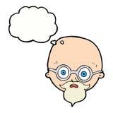 Karikatur entsetzte Mann mit Bart mit Gedankenblase Stockfotos