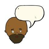 Karikatur entsetzte Mann mit Bart mit Spracheblase Lizenzfreies Stockbild