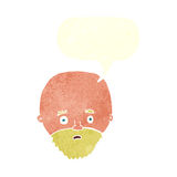 Karikatur entsetzte Mann mit Bart mit Spracheblase Stockbild