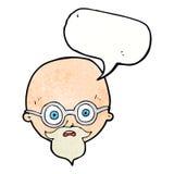 Karikatur entsetzte Mann mit Bart mit Spracheblase Stockfoto