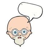 Karikatur entsetzte Mann mit Bart mit Spracheblase Stockbilder