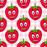 Karikatur-Erdbeernahtloses Muster Stockbild