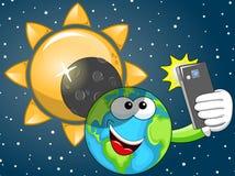 Karikatur-Erde-selfie Sonnenfinsternis Stockfoto