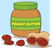 Karikatur-Erdnussbutter-Glas mit Erdnüssen lizenzfreie abbildung