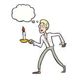 Karikatur erschrak den Mann, der mit Kerzenständer mit Gedanke bub geht Stockbilder