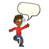 Karikatur erschrak Mann mit Augen, heraus knallend mit Gedankenblase Stockfotos