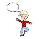 Karikatur erschrak Mann mit Augen, heraus knallend mit Gedankenblase Stockbild