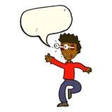Karikatur erschrak Mann mit Augen, heraus knallend mit Spracheblase Stockbilder