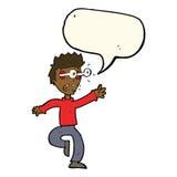 Karikatur erschrak Mann mit Augen, heraus knallend mit Spracheblase Stockfotografie