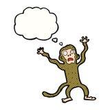 Karikatur erschrockener Affe mit Gedankenblase Lizenzfreies Stockbild