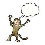 Karikatur erschrockener Affe mit Gedankenblase Lizenzfreie Stockbilder