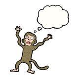 Karikatur erschrockener Affe mit Gedankenblase Stockbild