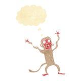 Karikatur erschrockener Affe mit Gedankenblase Lizenzfreie Stockfotos