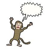 Karikatur erschrockener Affe mit Spracheblase Stockbilder