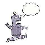 Karikatur erschrockener Roboter mit Gedankenblase Stockbilder