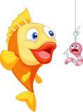 Karikatur erschrockener Wurm mit hungrigen Fischen Stockbilder