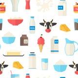 Karikatur-Farbmilchprodukt-nahtloser Muster-Hintergrund Vektor Vektor Abbildung